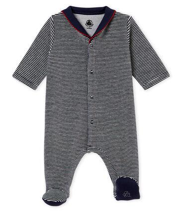 Pijama de terciopelo con la milrayas para bebé niño