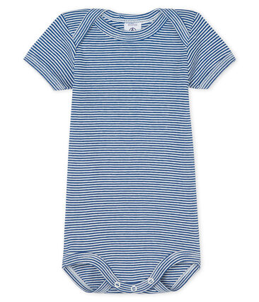 Bodi manga corta para bebé niño azul Limoges / blanco Marshmallow