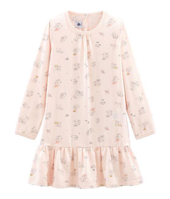 Camisón de algodón fino para niña rosa Fleur / blanco Multico