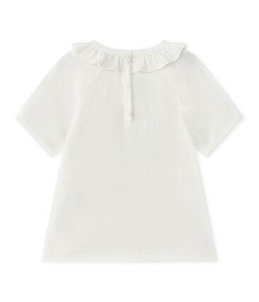 Camiseta bebé niña de maga corta blanco Marshmallow / azul Smoking