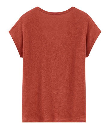Camiseta manga corta lisa de lino irisada para mujer