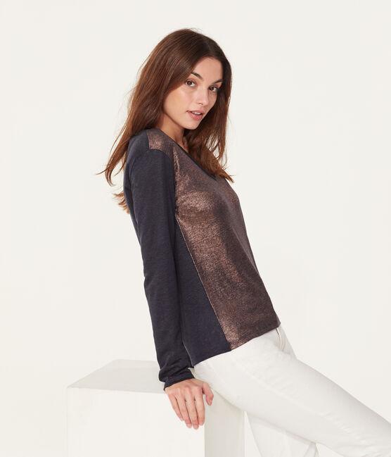 Camiseta manga larga de lino irisada para mujer azul Smoking / rosa Copper