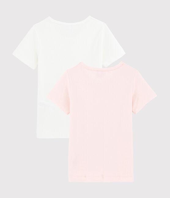 Lote de 2 camisetas de manga corta caladas color pastel de algodón ecológico de niña lote .
