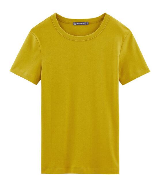 Camiseta manga corta de cuello redondo para mujer amarillo Bamboo
