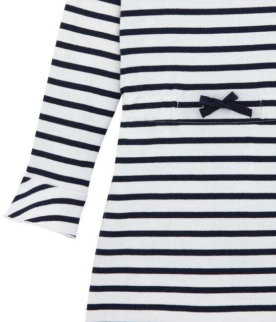 Vestido icónico para niña blanco Marshmallow / azul Smoking
