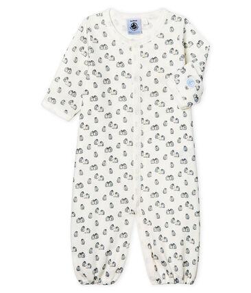 Mono saco para bebé de punto blanco Marshmallow / azul Toudou