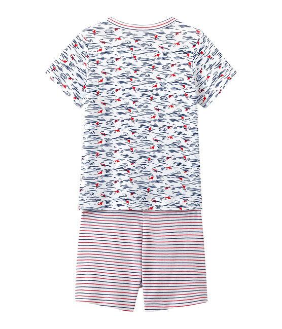 Pijama corto estampado y rayado para niño blanco Ecume / azul Smoking