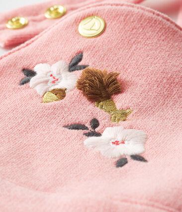 Peto de bebé largo en muletón para niña rosa Charme