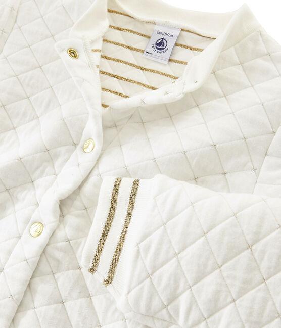 Cárdigan de tela túbica acolchada para niña blanco Marshmallow