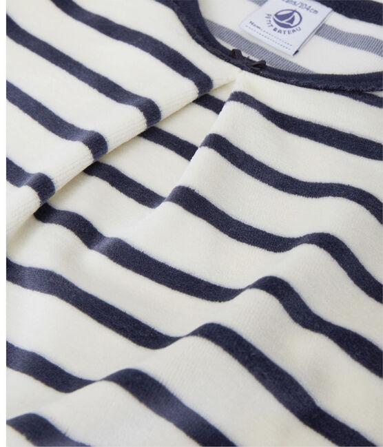 Chemise de nuit fille à bouclette velours beige Coquille / azul Smoking