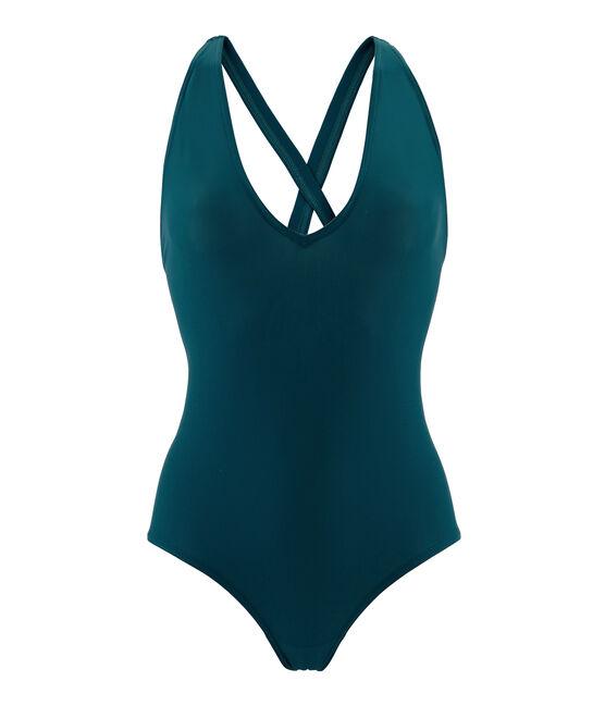 Traje de baño 1 pieza cruzado en la espalda para mujer verde Pinede