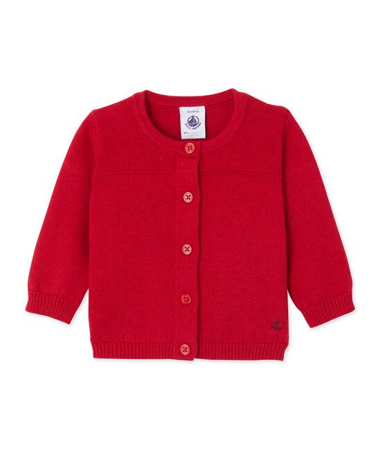 Cárdigan de bebé para niña en lana y algodón rojo Froufrou