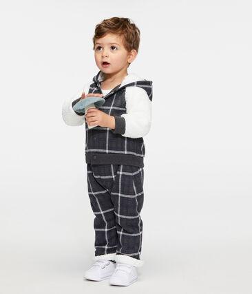 Sudadera con capucha de cuadros y sherpa de borreguillo para bebé niño negro City / blanco Multico