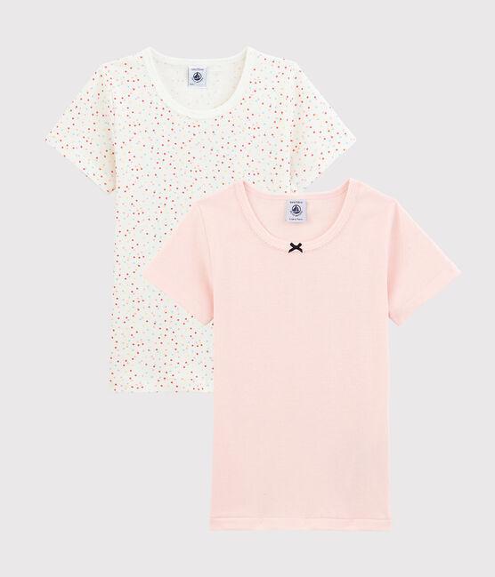Par de camisetas de manga corta con lunares multicolores de algodón ecológico de niña lote .