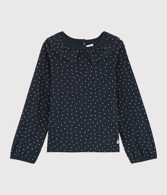Camiseta con cuello de niña azul Smoking / blanco Multico