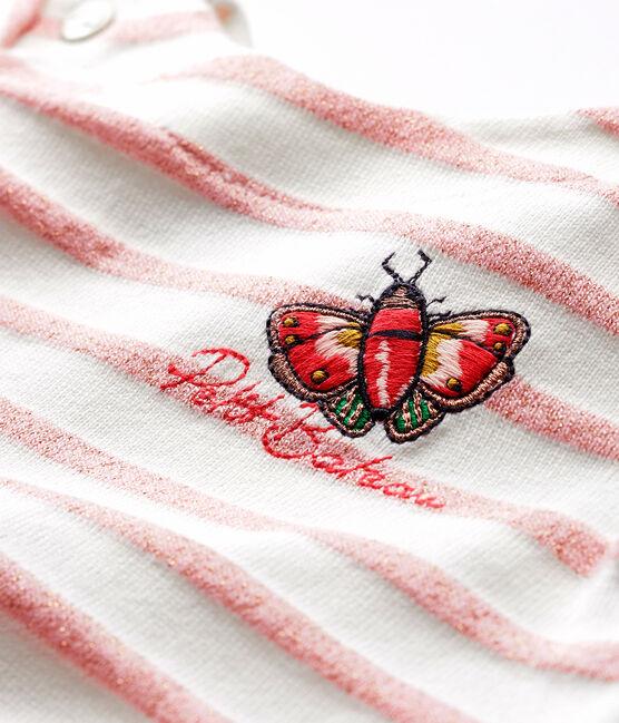 Vestido de manga corta a rayas para bebé niña blanco Marshmallow / rosa Joli Brillant