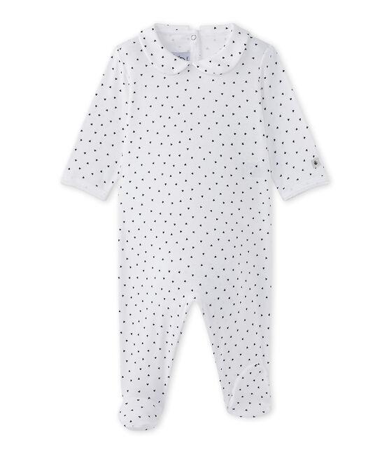 Pijama con corazones estampados para bebé niña blanco Ecume / azul Medieval
