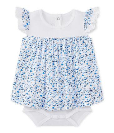 Vestido-body para bebé niña en popelina estampada