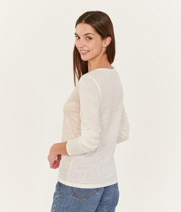 Camiseta manga larga de lino irisada para mujer blanco Marshmallow / rosa Copper