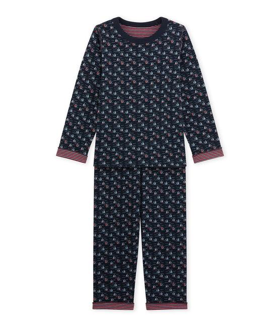 Pijama reversible para niño azul Smoking / blanco Multico