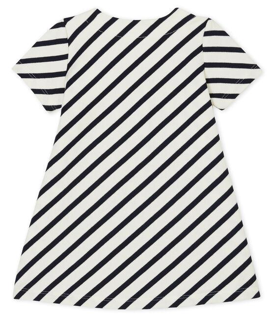 Vestido de manga corta de rayas para bebé niña blanco Marshmallow / azul Smoking