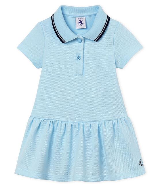 Vestido body manga corta para bebé niña azul Bocal