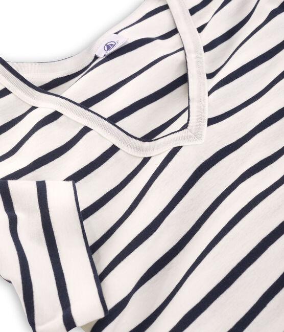 Camiseta manga corta de cuello pico para mujer blanco Marshmallow / azul Smoking