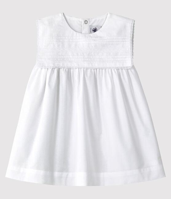 Vestido de celebración sin mangas de popelina de bebé niña blanco Ecume