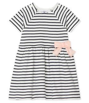 Vestido de manga corta a rayas para bebé niña blanco Marshmallow / azul Smoking