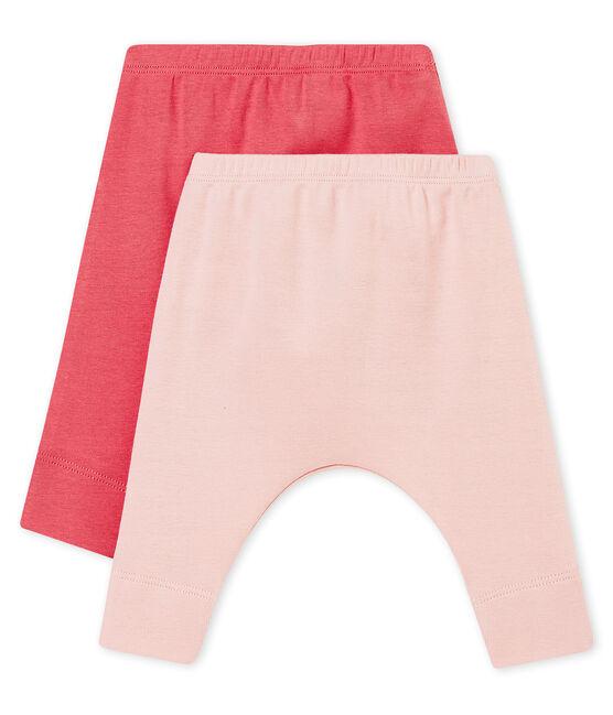 Lote de dos legging para bebé en punto 1x1 afelpado liso lote .