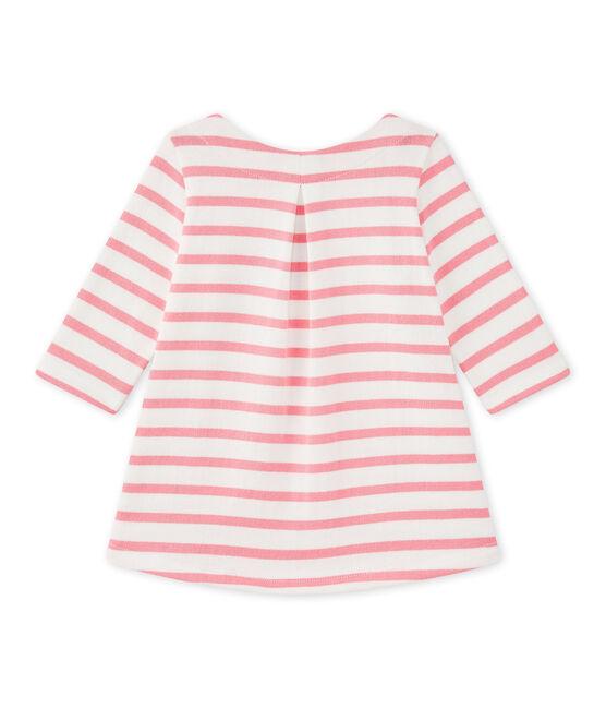 Vestido bebé niña a rayas blanco Marshmallow / rosa Petal