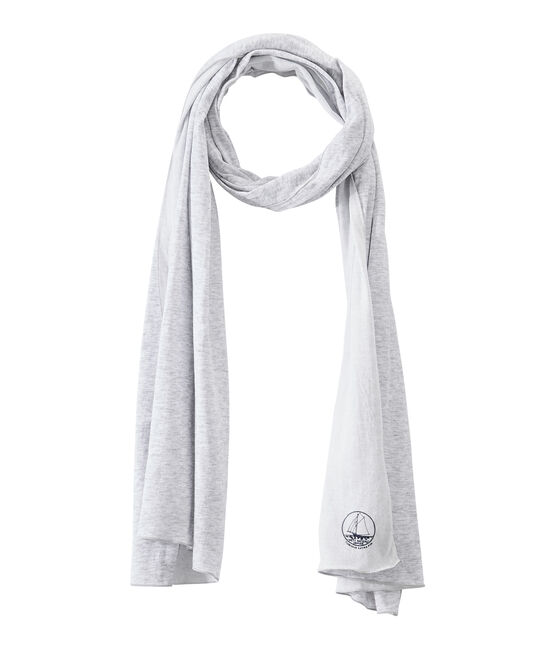 Pañuelo de mujer en túbico extrafino gris Poussiere / blanco Lait