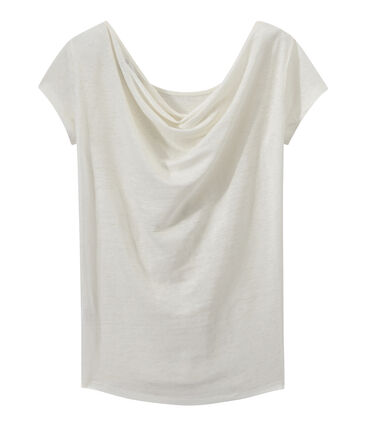 Camiseta de lino con cuello redondo blanco Lait / amarillo Or