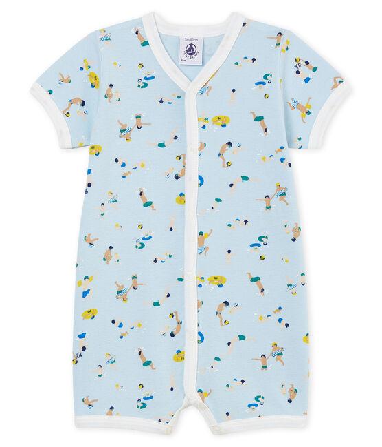 Mono corto de punto para bebé niño azul Toudou / blanco Multico Cn