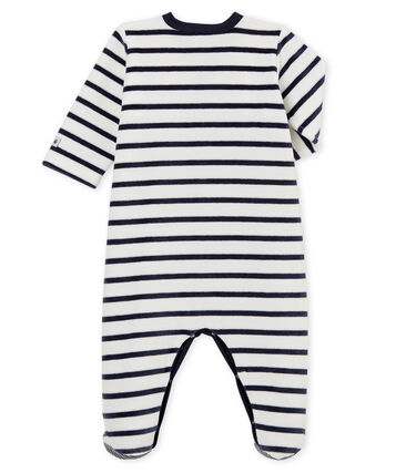Pijama de terciopelo para bebé blanco Marshmallow / azul Smoking