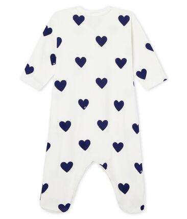 Pelele de punto de algodón para bebé niña-niño blanco Marshmallow / azul Medieval