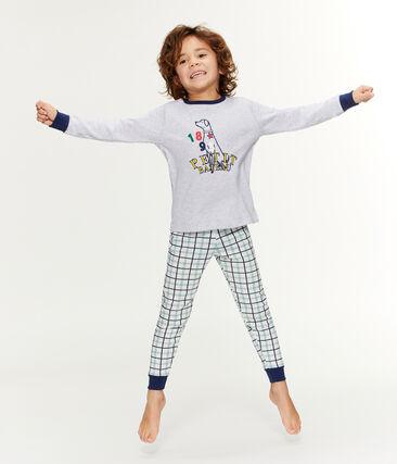 Pijama de acanalado y tela túbica para niño blanco Marshmallow / blanco Multico