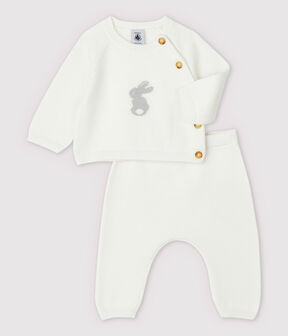 Conjunto de 2 prendas blancas de bebé en punto de algodón ecológico blanco Marshmallow