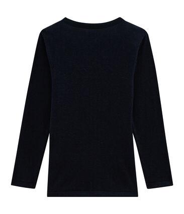 Camiseta de manga larga infantil de algodón y seda azul Smoking