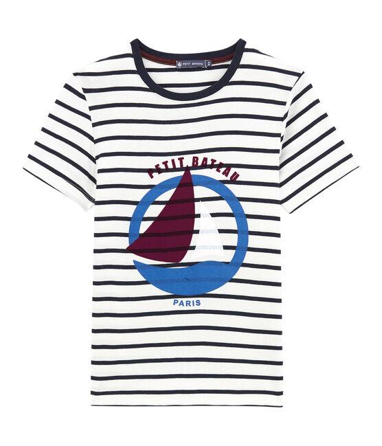 Camiseta a rayas marineras blanco Marshmallow / azul Smoking