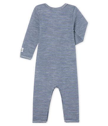 Body largo para bebé de lana y algodón azul Medieval / blanco Marshmallow
