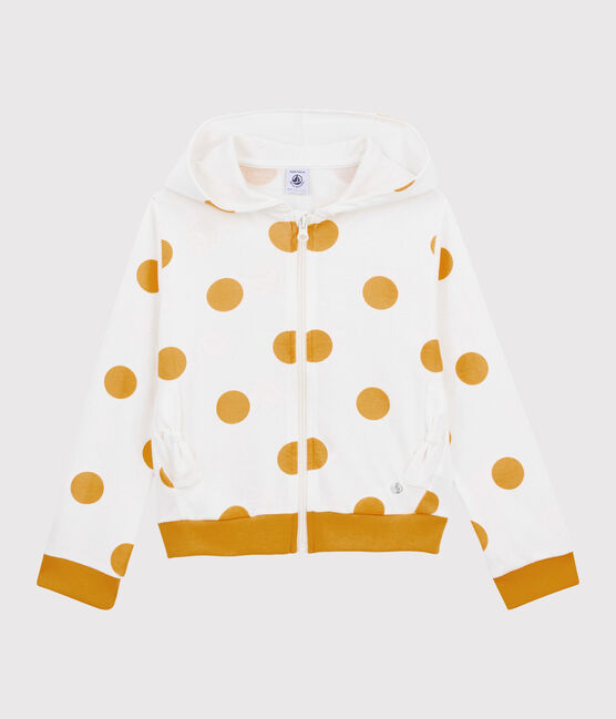 Sudadera con capucha para niña blanco Marshmallow / amarillo Boudor