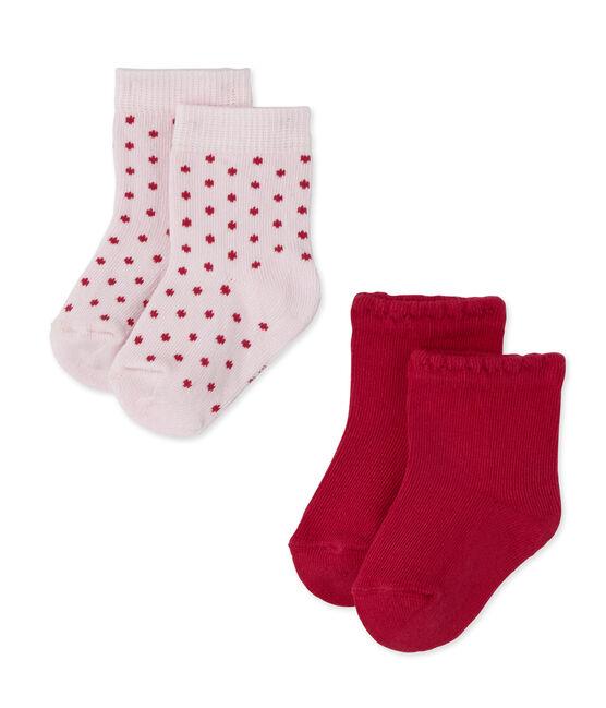 Lote de 2 pares de calcetines de bebé niña lisos + lunares lote .