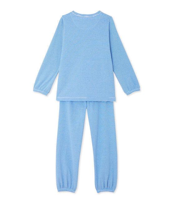 Pijama milrayas para niña azul Delphinium / blanco Ecume
