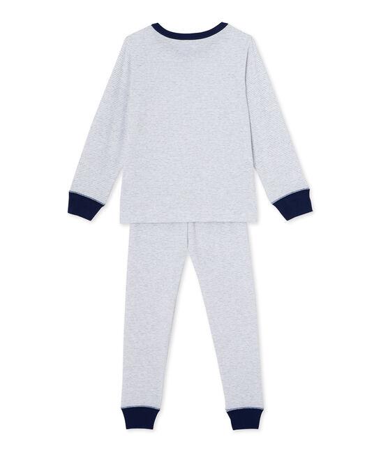 Pyjama garçon en milleraies gris Poussiere / blanco Lait