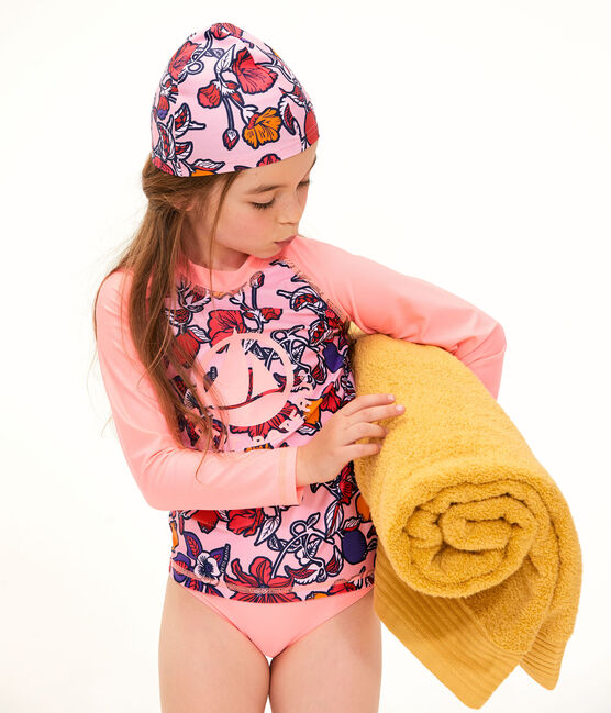 Camiseta anti-UV UPF 50+ ecorresponsable para bebé niña rosa Merveille / blanco Multico