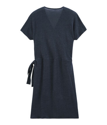 Vestido manga corta de lino irisado para mujer azul Smoking / rosa Copper