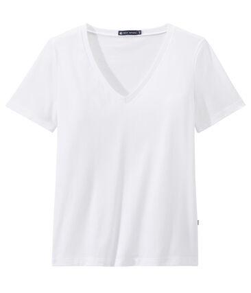 Camiseta en jersey ligero con cuello en pico para mujer blanco Ecume