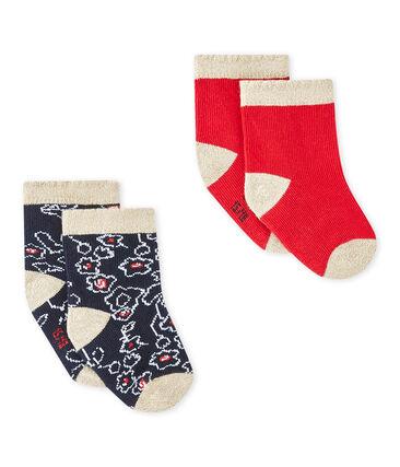 Lote de 2 pares de calcetines bebé niña