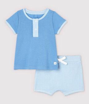 Conjunto de 2 prendas azules de bebé de algodón ecológico azul Edna / blanco Multico